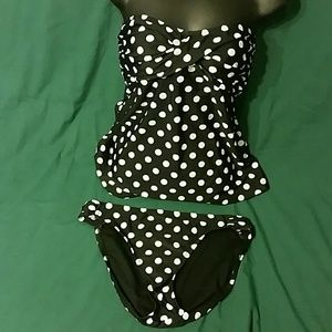 Black and White Polka-dots Tankini Swimsuit EUC